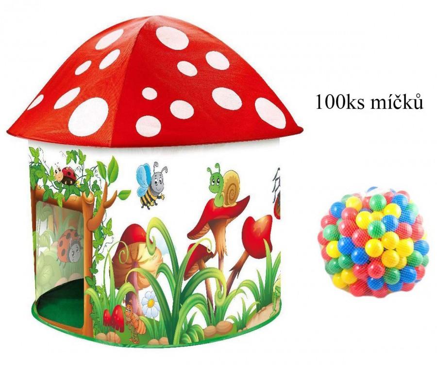 Dětský stan muchomůrka s míčky 100ks