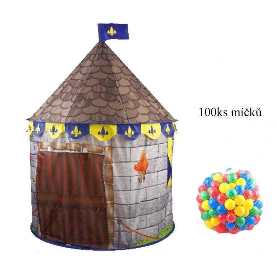 Dětský pohádkový stan s míčky 100ks - hnědý