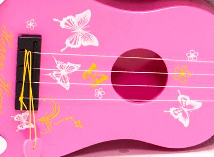 Dětská plastová kytara 55cm - růžová