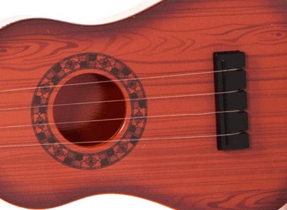 Dětská plastová kytara 55cm - hnědá