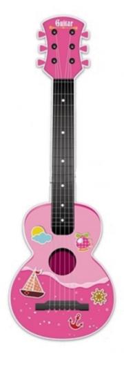 Dětská plastová kytara 65cm - růžová