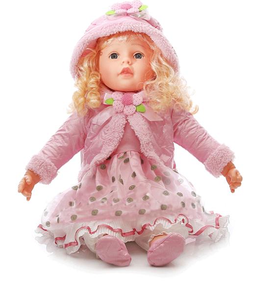 Mluvící a zpívající panenka 60 cm - s kloboukem