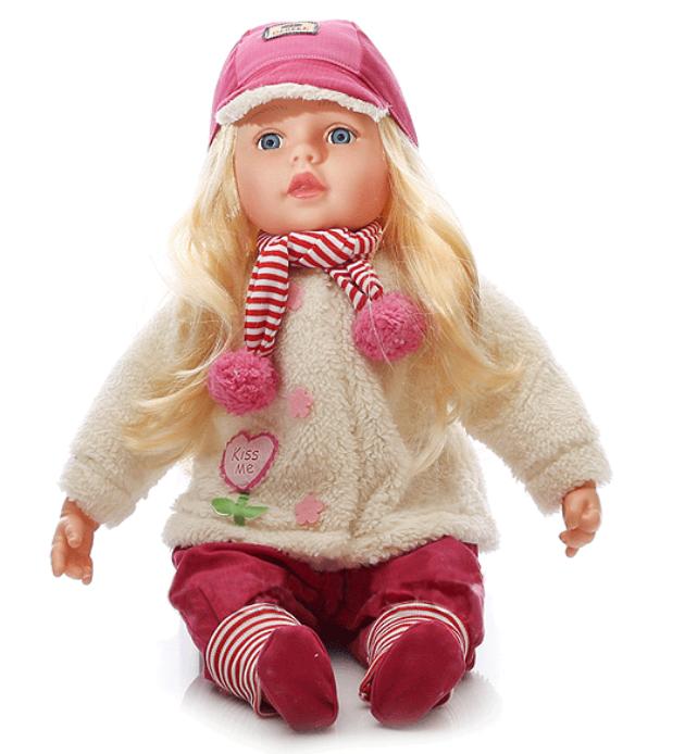 Mluvící a zpívající panenka 60 cm - s kšiltovkou