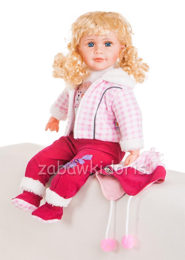 Mluvící a zpívající panenka 60 cm - růžová s bundou
