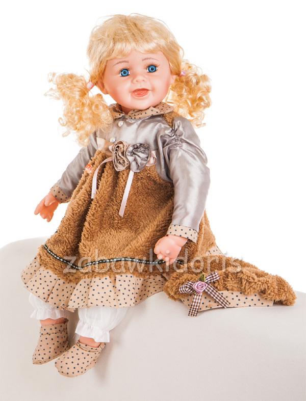 Mluvící a zpívající panenka 60 cm - hnědá se sukní