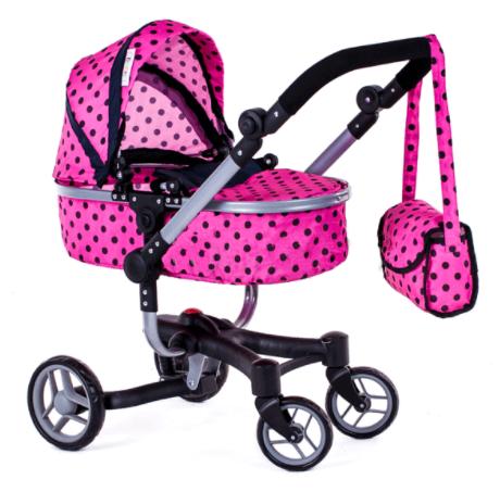 Velký oboustranný kočárek pro panenky 9694 - Růžový s černými puntíky