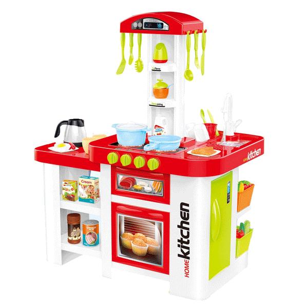 Dětská kuchyňka s lednicí a troubou, tekoucí voda - červená
