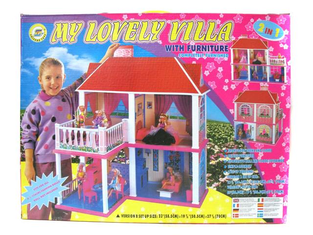 Domeček pro panenky Doris s 5 pokoji a terasou
