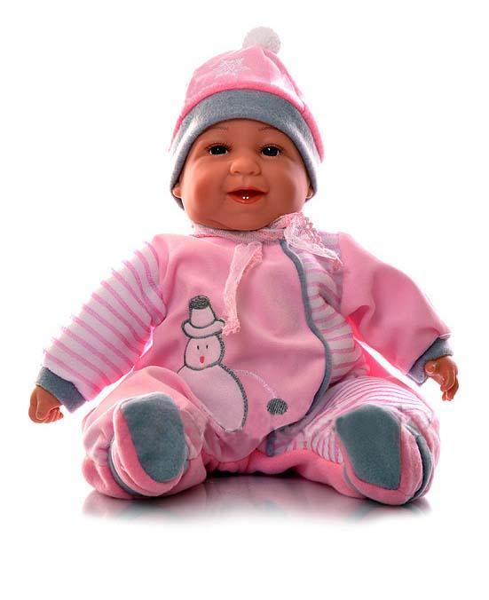 Mluvící a zpívající dětská panenka Baby Girl - růžová se sněhulákem