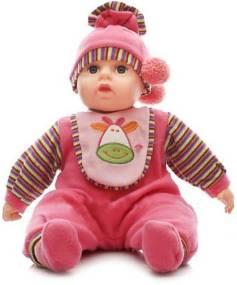 Mluvící a zpívající dětská panenka Baby Girl - růžová se žirafou