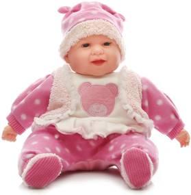 Mluvící a zpívající dětská panenka Baby Girl - růžová s medvídkem