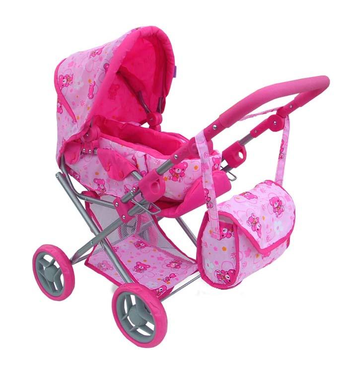 Kombinovaný kočárek pro panenky s panenkou - světle růžový s medvídky