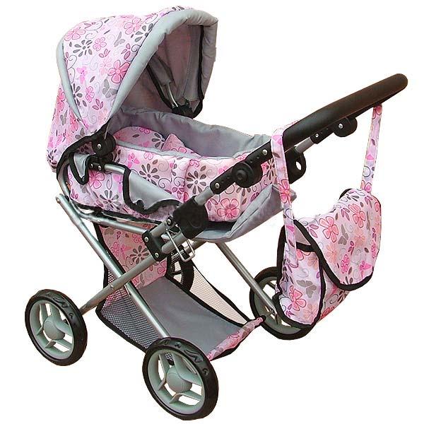 Kombinovaný kočárek pro panenky s panenkou - světle růžový s květinkami