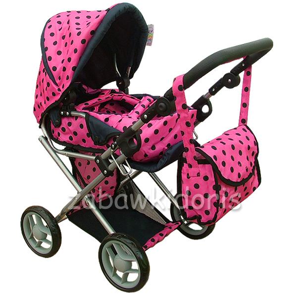 Kombinovaný kočárek pro panenky s panenkou - růžový s černými kolečky