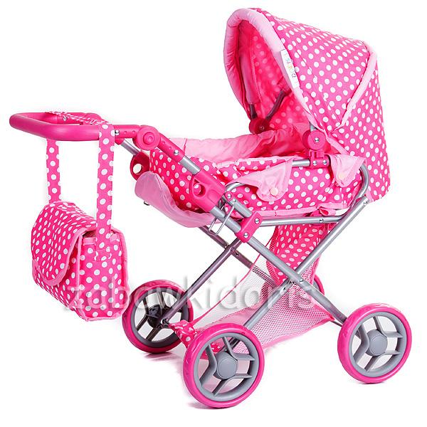 Kombinovaný kočárek pro panenky s panenkou - růžový s bílými tečkami