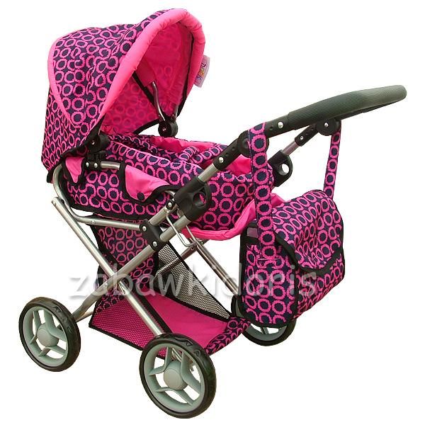 Kombinovaný kočárek pro panenky s panenkou - růžovočerný s mřížkou