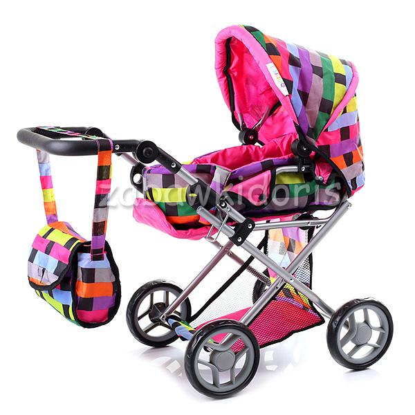 Kombinovaný kočárek pro panenky s panenkou - barevný kostkovaný