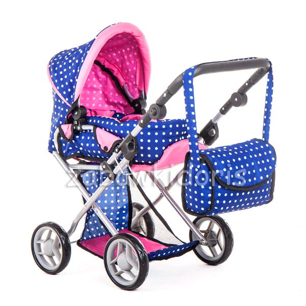 Kombinovaný kočárek pro panenky s panenkou - modrý s bílými puntíky