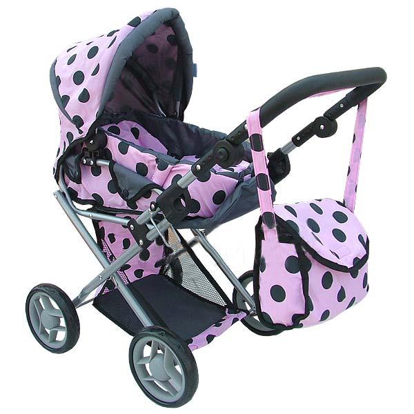Kombinovaný kočárek pro panenky s panenkou - světle růžový s černými kolečky