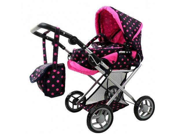 Kombinovaný kočárek pro panenky s panenkou - tmavý s růžovými kolečky