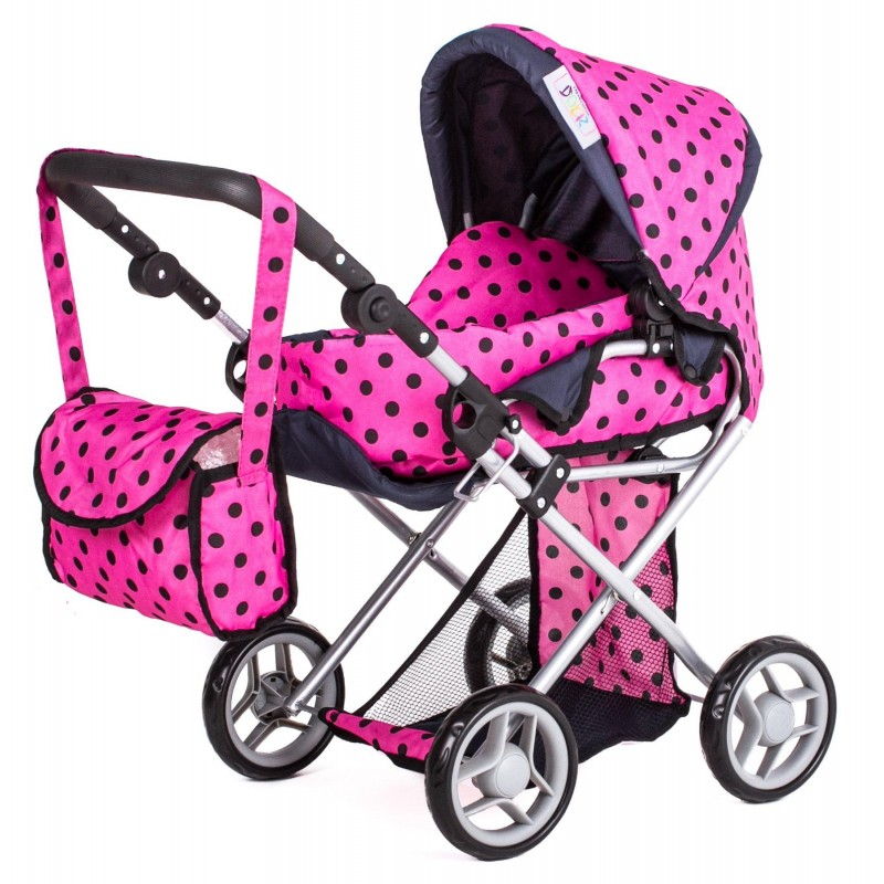 Kombinovaný kočárek pro panenky 9333 - růžový s černými kolečky