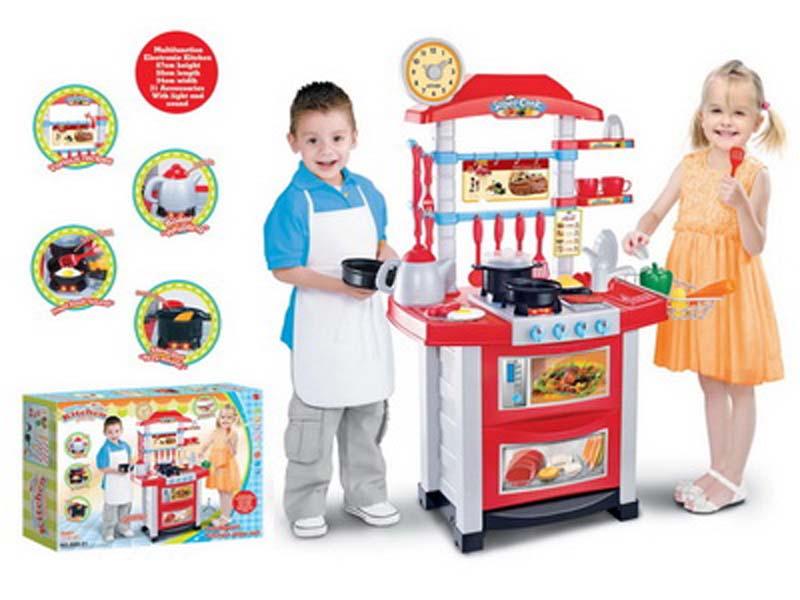 Dětská kuchyňka s hodinami - červená
