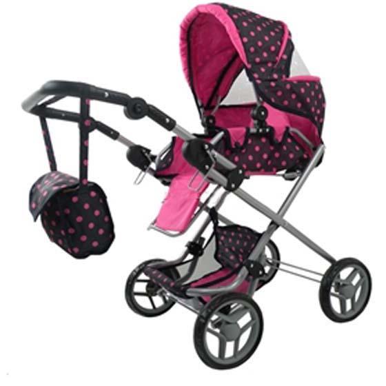 Kombinovaný kočárek pro panenky 9333 s panenkou - tmavý s růžovými puntíky