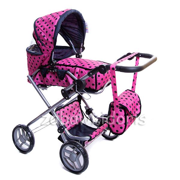 Kombinovaný kočárek pro panenky 9333 s panenkou - růžový s černými kolečky