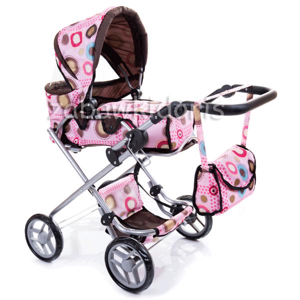 Kombinovaný kočárek pro panenky 9333 s panenkou - světle růžový s kolečky