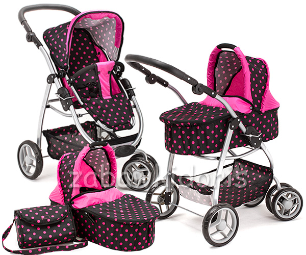 Kombinovaný kočárek pro panenky 9662 - tmavý s růžovými puntíky