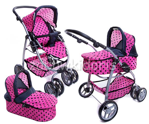 Kombinovaný kočárek pro panenky 9662 - růžový s černými kolečky