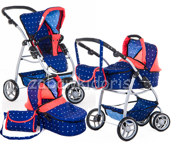 Kombinovaný kočárek pro panenky 9662 - modrý s bílými puntíky