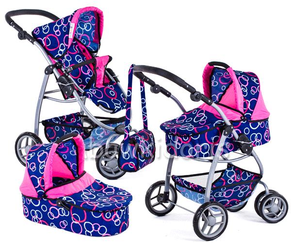 Kombinovaný kočárek pro panenky 9662 - modrý s kolečky