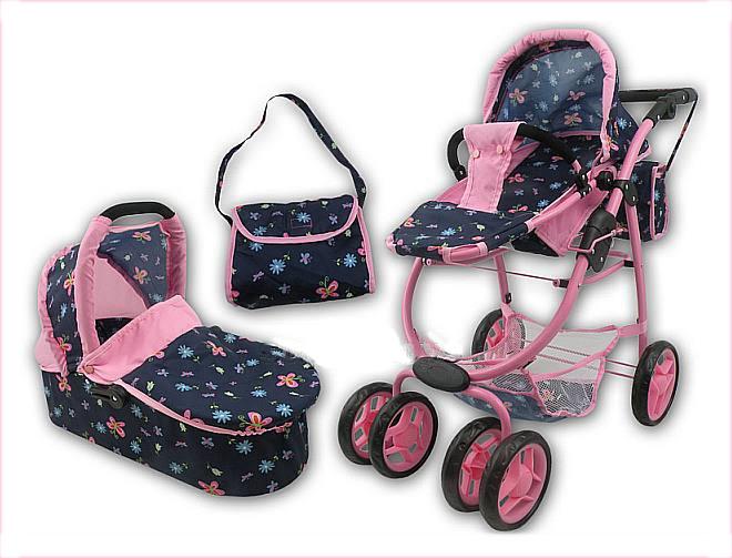 Kombinovaný kočárek pro panenky 9662 - modrý s motýlky