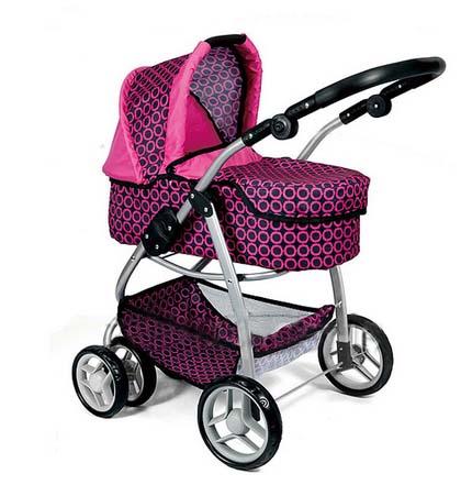 Kombinovaný kočárek pro panenky 9662 - růžovo-černý