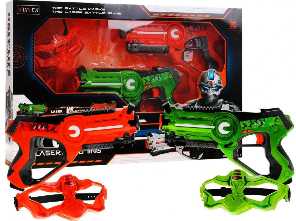 Laserové pistole Call of life s maskou - oranžovo - zelené