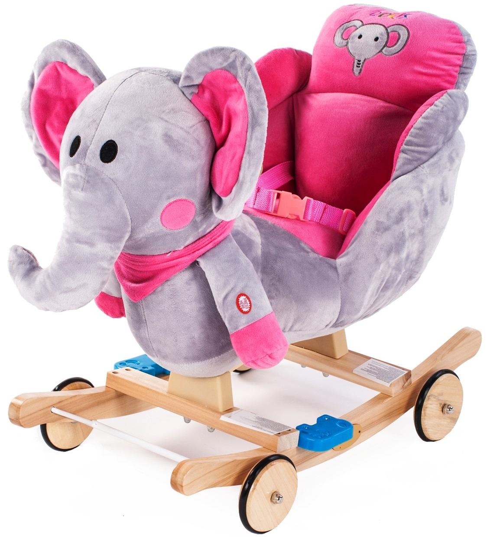 GrandS Houpací zvířátko s melodií - růžový slon
