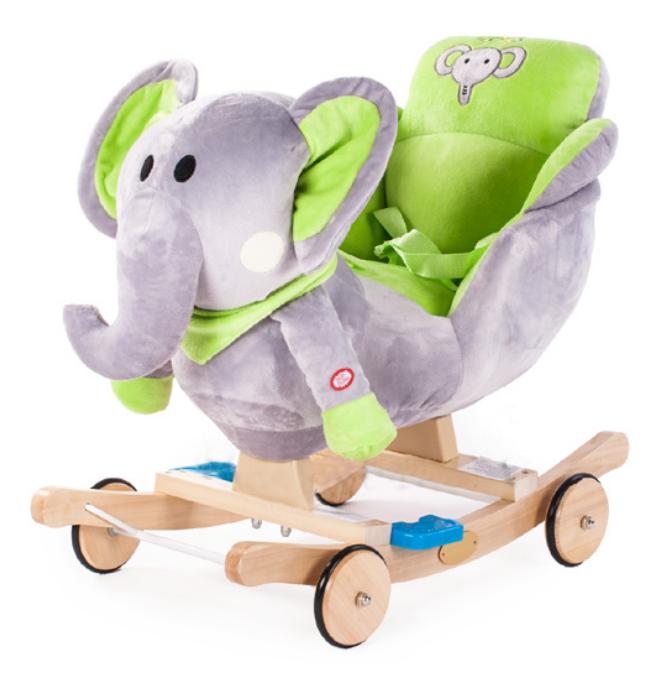 GrandS Houpací zvířátko s melodií - zelený slon