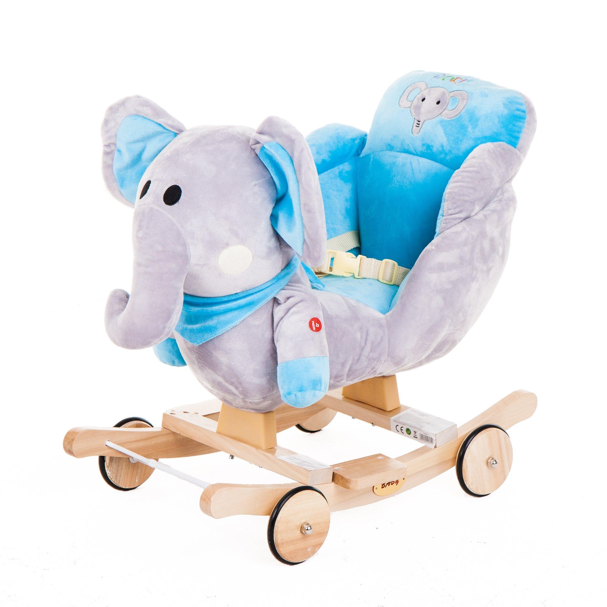 GrandS Houpací zvířátko s melodií - modrý slon