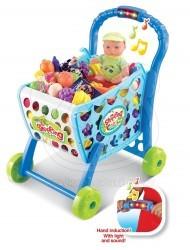 Dětský nákupní vozík se zvuky 3v1 modrý