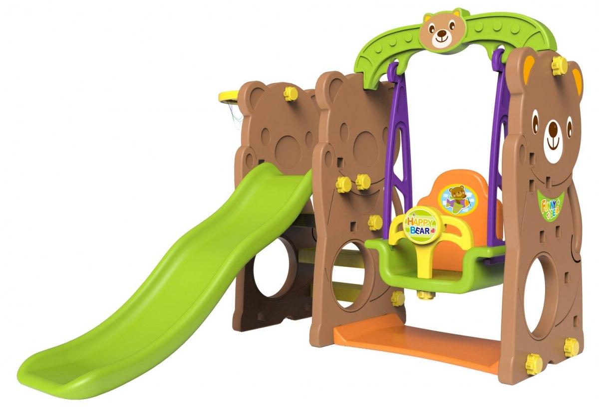 Dětská skluzavka s houpačkou - medvěd