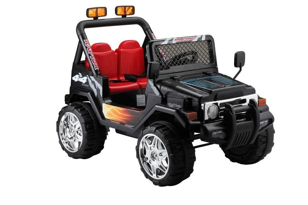 Elektrické autíčko Jeep Raptor, EVA kola, 2.4GHz - černé