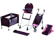 Doris sestava pro panenky - kočárek, postýlka, nosítko, jídelní židlička