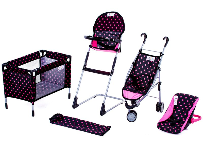 Doris sestava pro panenky - kočárek, postýlka, nosítko, jídelní židlička - tmavá