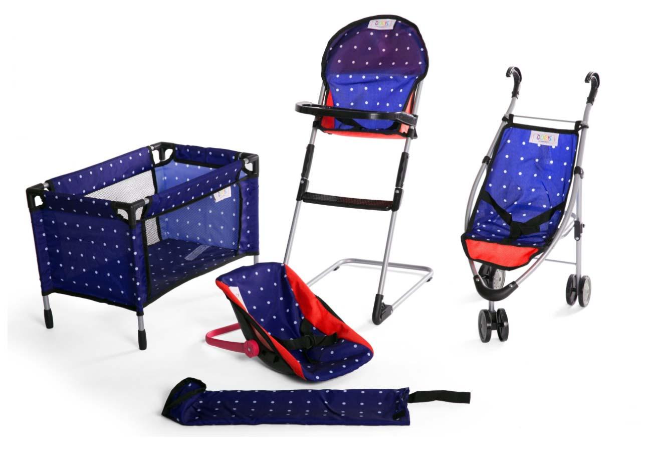 Doris sestava pro panenky - kočárek, postýlka, nosítko, jídelní židlička - modrá s bílými puntíky
