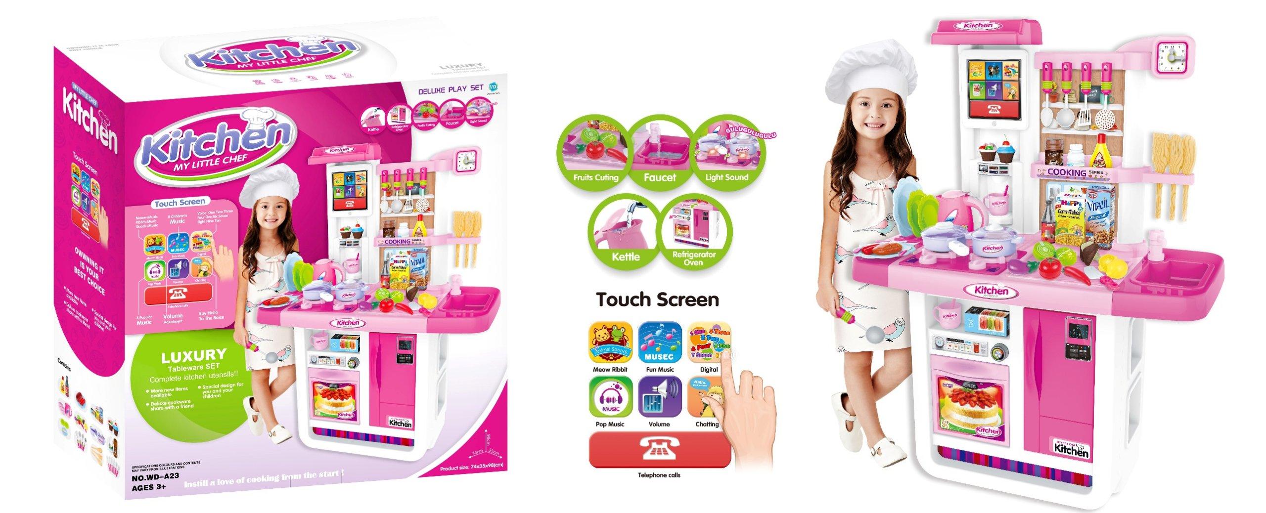 Dětská kuchyňka s dotykovým panelem - růžová