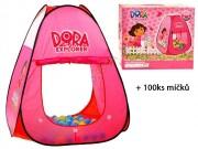 Dora růžový stan se 100ks míčků