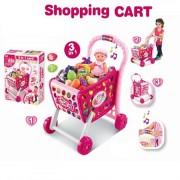Dětský nákupní vozík se zvuky 3v1 růžový