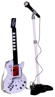 Dětská elektrická kytara + stojan a mikrofon