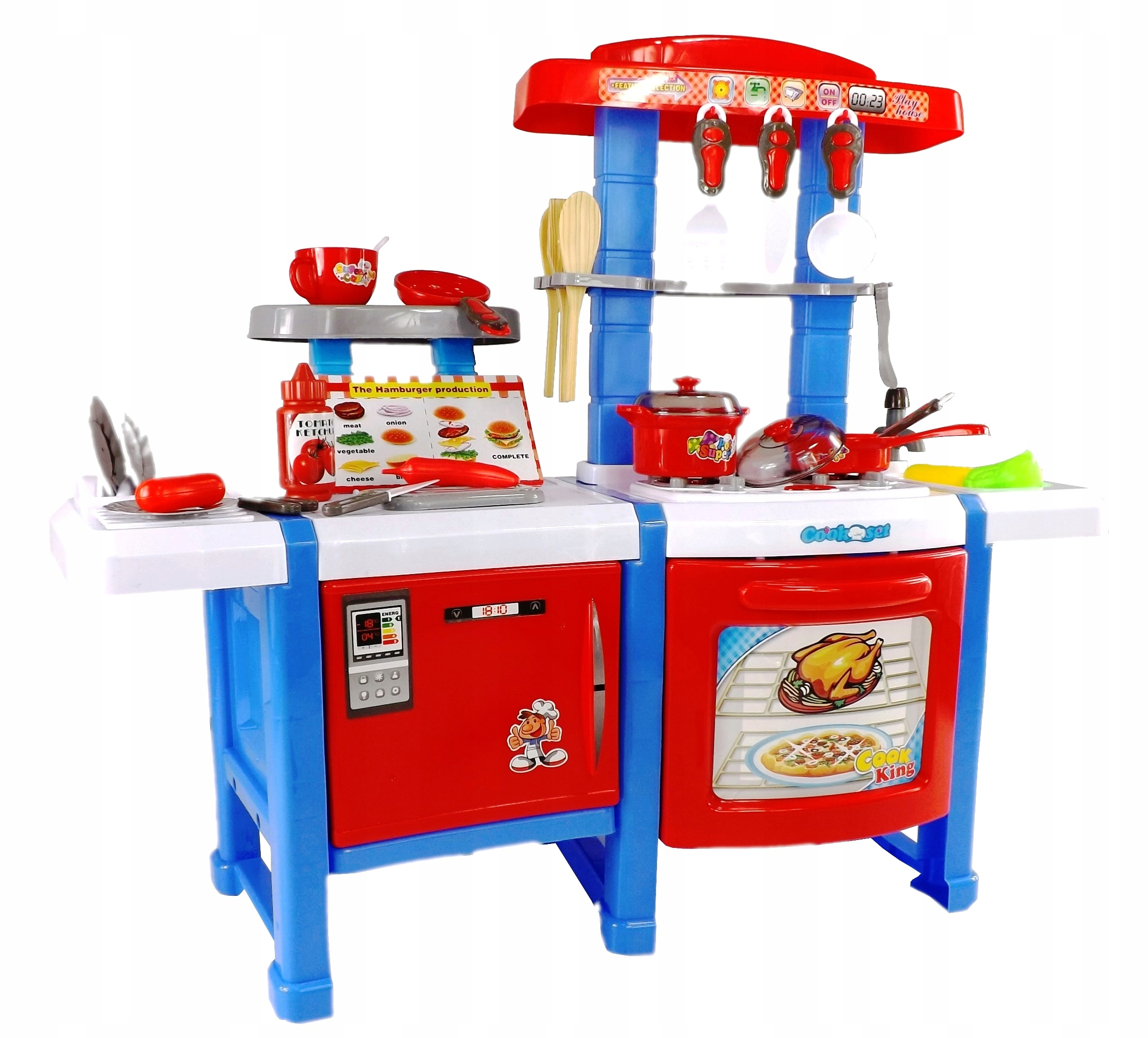 Dětská kuchyňka s lednicí a troubou - červená